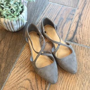 Gap / Gray Suede Point-Toe Flats